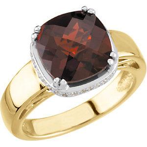 Fashion Rings , 14K Two-Tone Mozambique Garnet & 1/6 CTW Diamond Ring