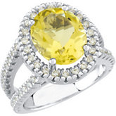 Lemon Quartz & Diamond Halo-Style Ring or Semi-mount