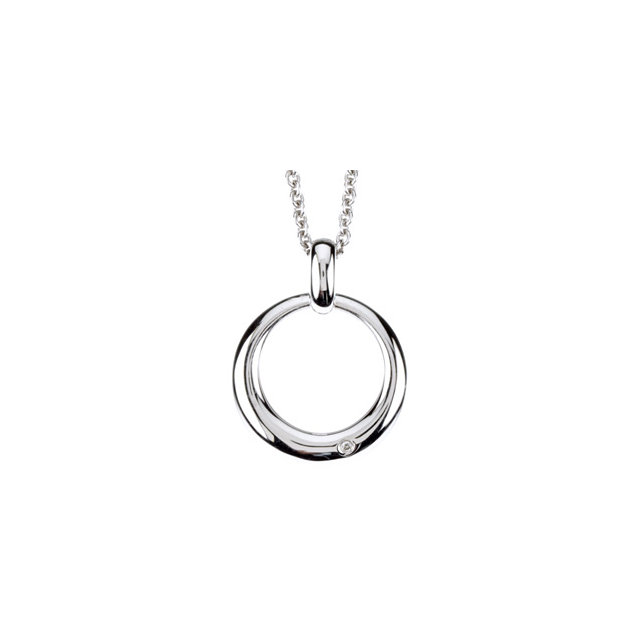 Sterling Silver .01 CT Diamond Circle 18