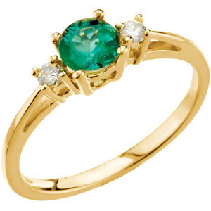 Fashion Rings , Emerald & Diamond Accented 3-Stone Ring