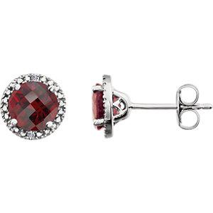 Sterling Silver Mozambique Garnet & .01 CTW Diamond Earrings