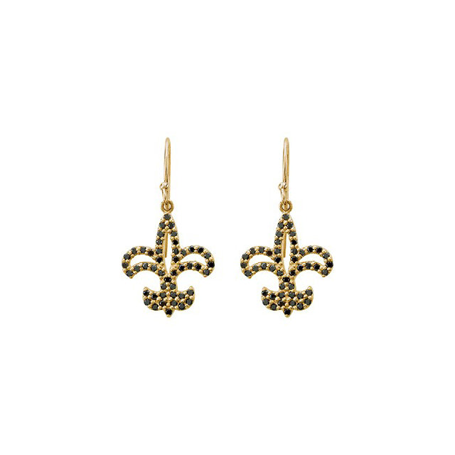 14K Yellow 1/2 CTW Black Diamond Fleur De Lis Earrings