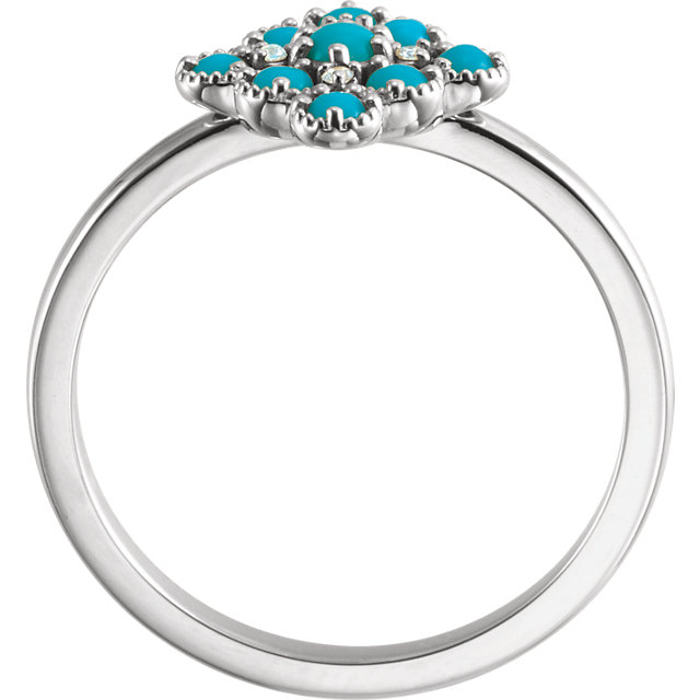 14K White Turquoise & .02 CTW Diamond Ring