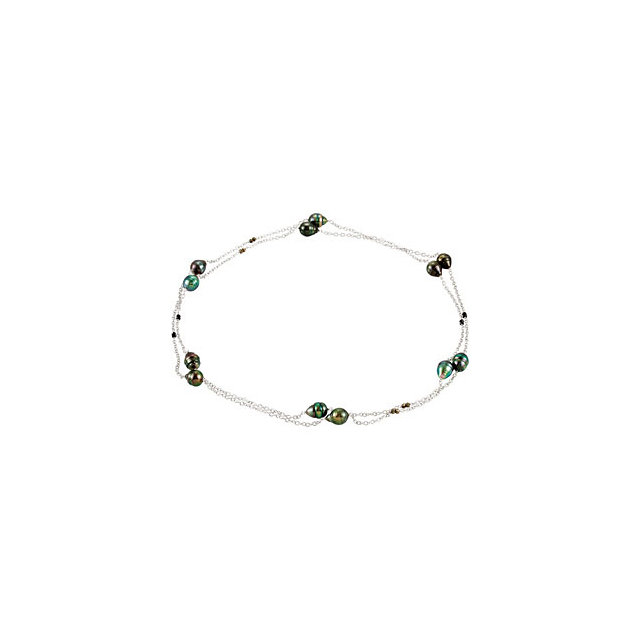 Sterling Silver Tahitian Cultured Pearl & Black Spinel 48