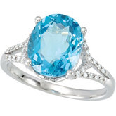 Swiss Blue Topaz & Diamond Accented Ring or Semi-Set