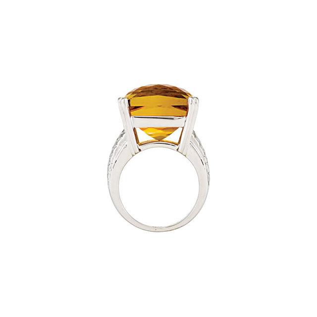Checkerboard Citrine Weave Design Ring