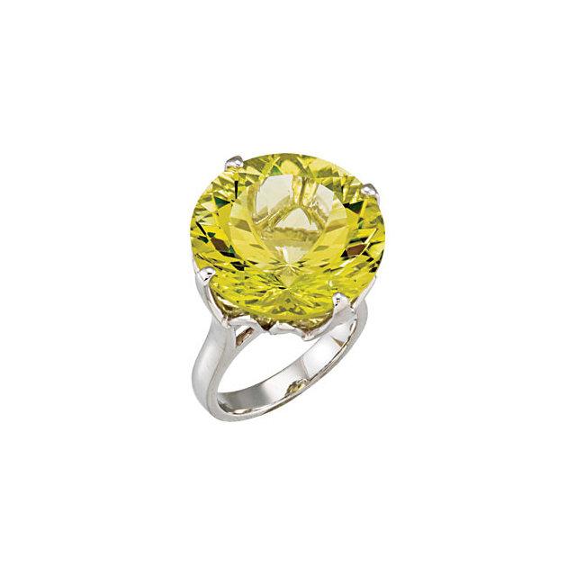 Sterling Silver Green Gold Quartz Ring