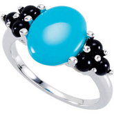 Turquoise & Onyx Accented Ring