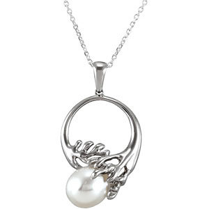 Sterling Silver Freshwater Cultured Pearl Solitaire Pendant