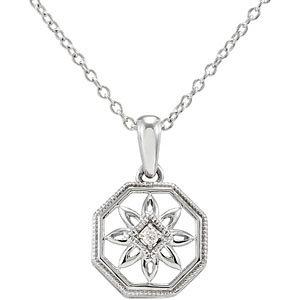 Sterling Silver .02 CT Diamond 18