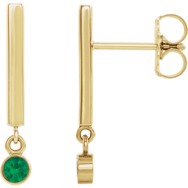 14K Yellow Emerald Dangle Earrings