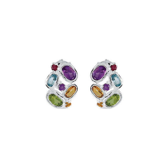 Amethyst, Citrine, Peridot, Sky Blue Topaz & Brazilian Garnet Earrings