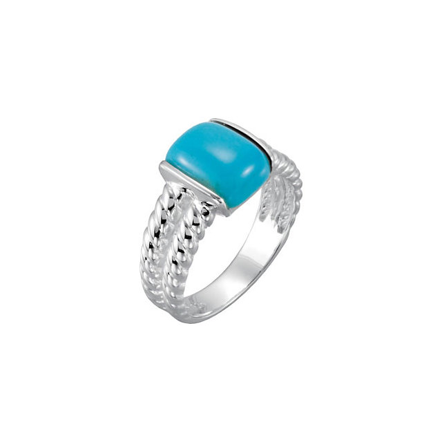 Sterling Silver Chinese Turquoise Ring Size 7