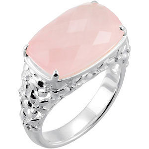 Rose Quartz Floral-Inspired Ring
