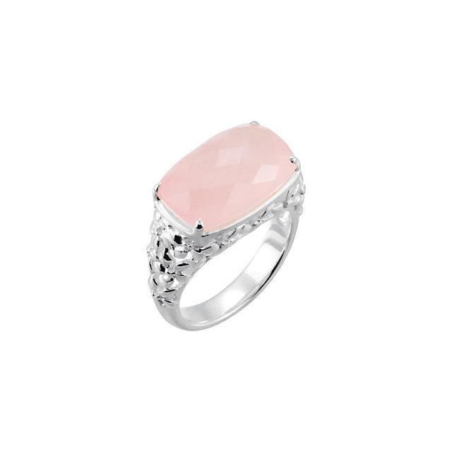 Rose Quartz Floral-Inspired Ring