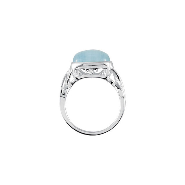 Sterling Silver Milky Aquamarine Ring