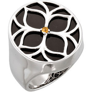 Onyx & Citrine Floral-Inspired Ring