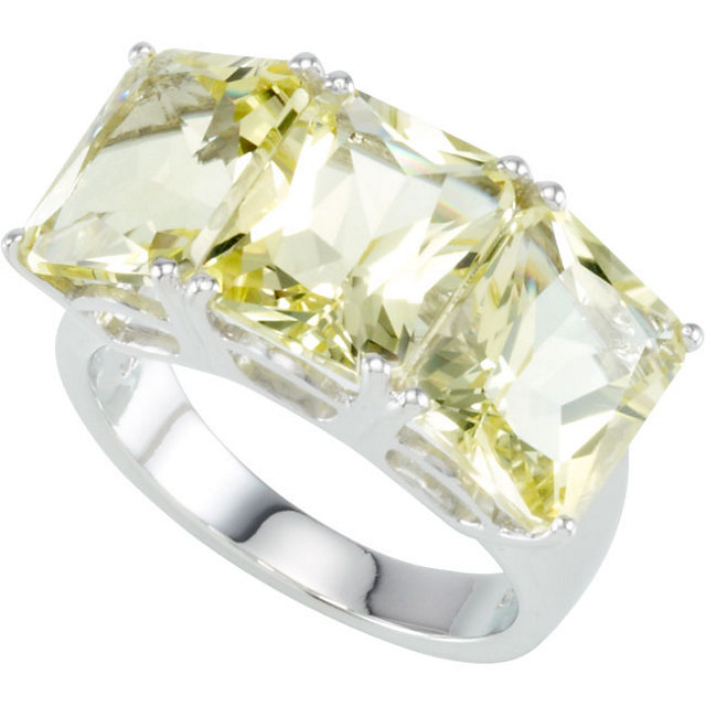 Sterling Silver Lime Quartz 3 Stone Ring