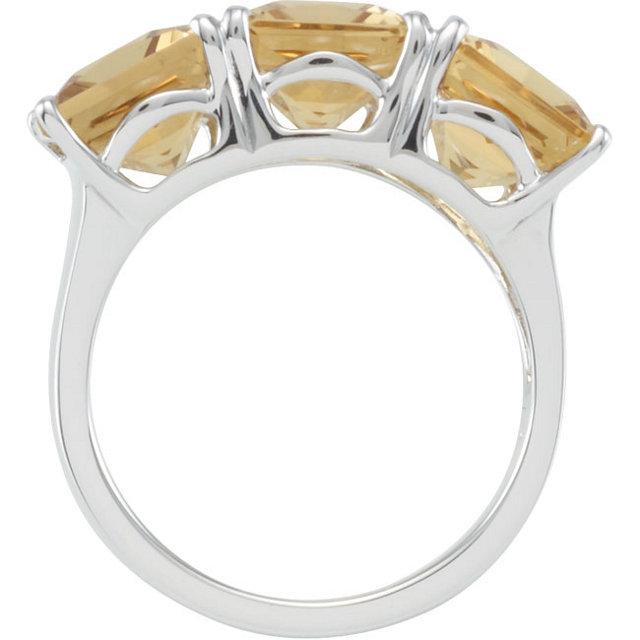 Sterling Silver Honey Quartz 3 Stone Ring