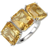 Yellow Quartz 3-Stone Ring