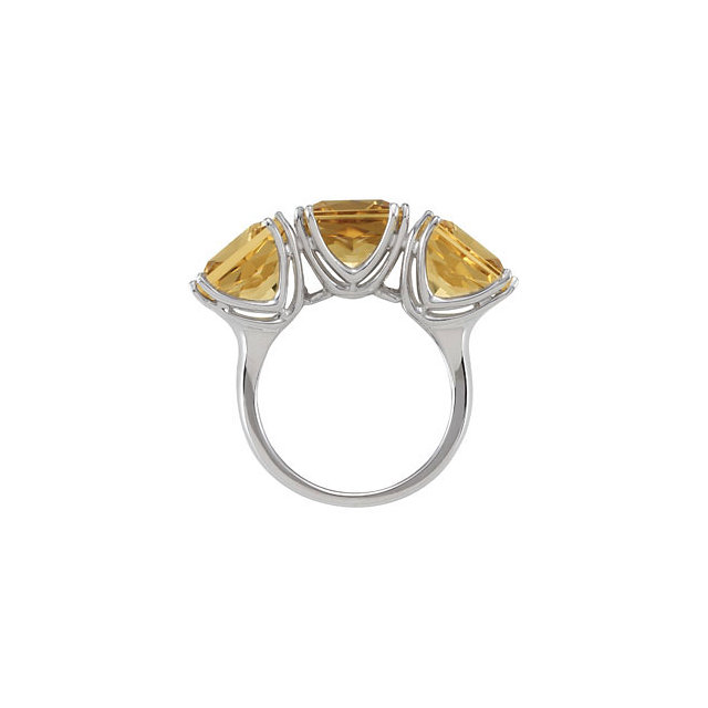 Yellow Quartz 3-Stone Ring