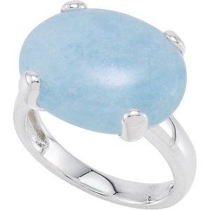 Horizontal Cabochon Milky Aquamarine Ring
