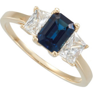 Fashion Rings , Blue Sapphire & Diamond Accented 3-Stone Ring
