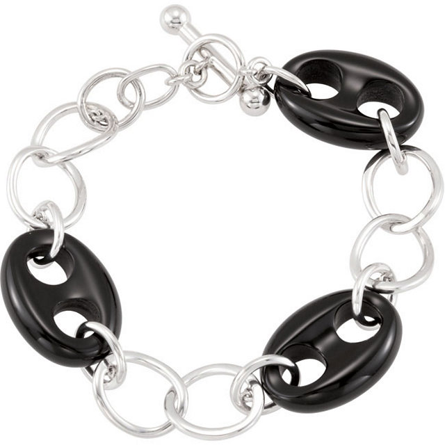 Sterling Silver Onyx Marine Link 8