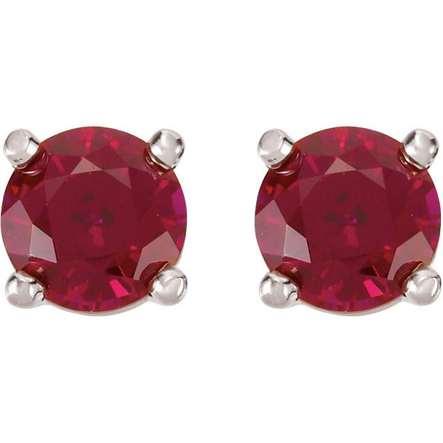 14K White 5mm Round Chatham® Created Ruby Friction Post Stud Earrings
