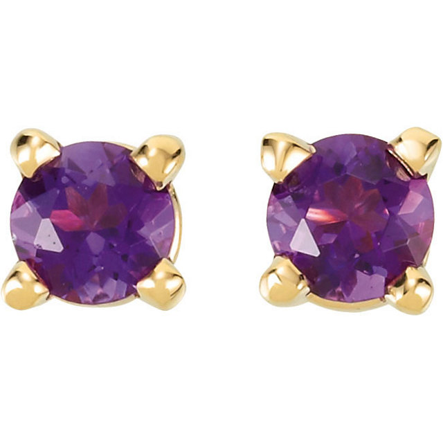 14K Yellow 3 mm Round Amethyst Friction Post Stud Earrings
