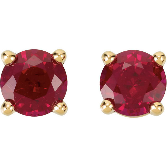 14K Yellow 5mm Round Chatham® Created Ruby Friction Post Stud Earrings