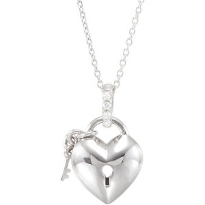 Sterling Silver .05 CTW Diamond Heart 18