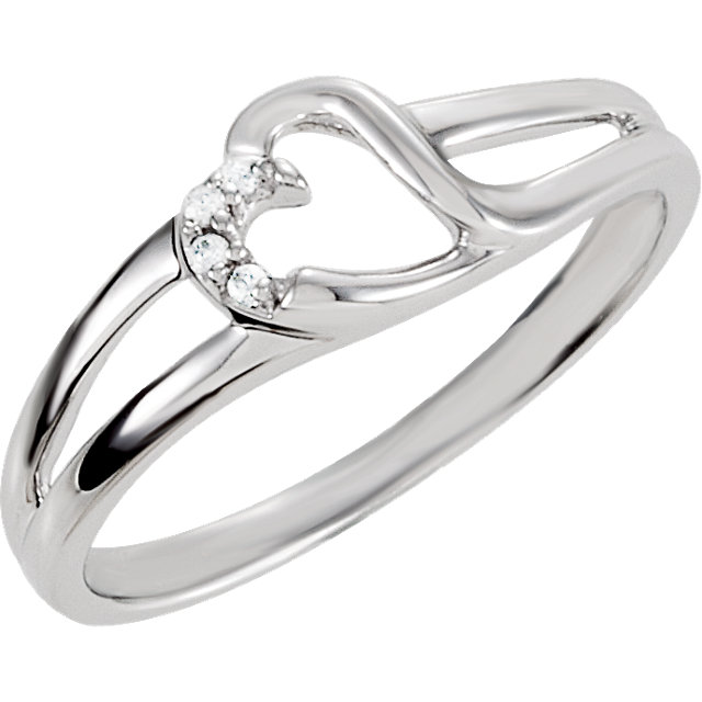 Sterling Silver Cubic Zirconia Heart Ring Size 6