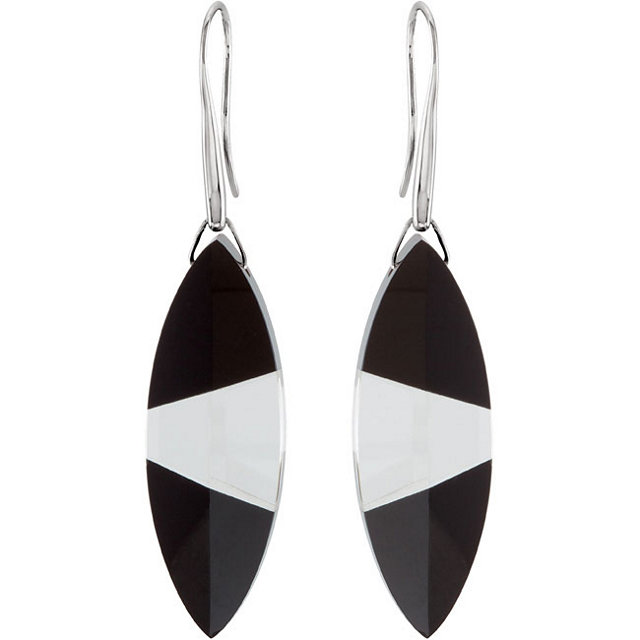Sterling Silver Onyx & Clear Quartz Earrings