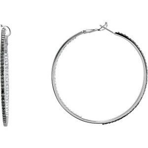2 1/2 CTW Black & White Diamond Inside/Outside Diamond Earrings with Black Rhodium Plate