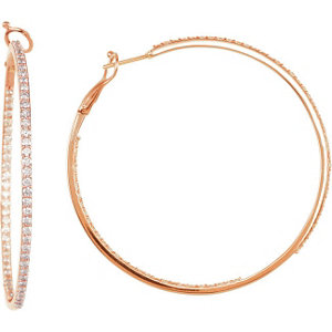 14K Rose 2 3/4 CTW Diamond Inside/Outside Hoops