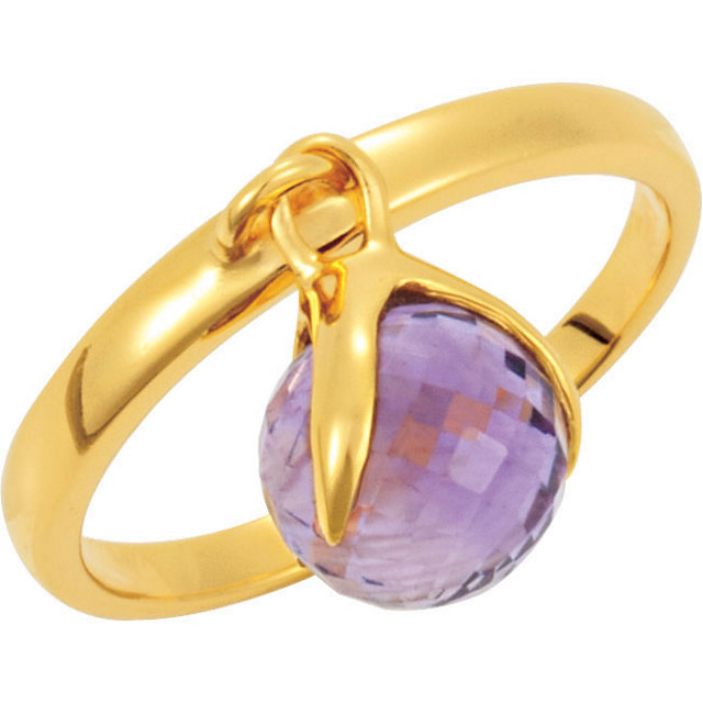 18K Yellow Vermeil Amethyst Ring Size 7