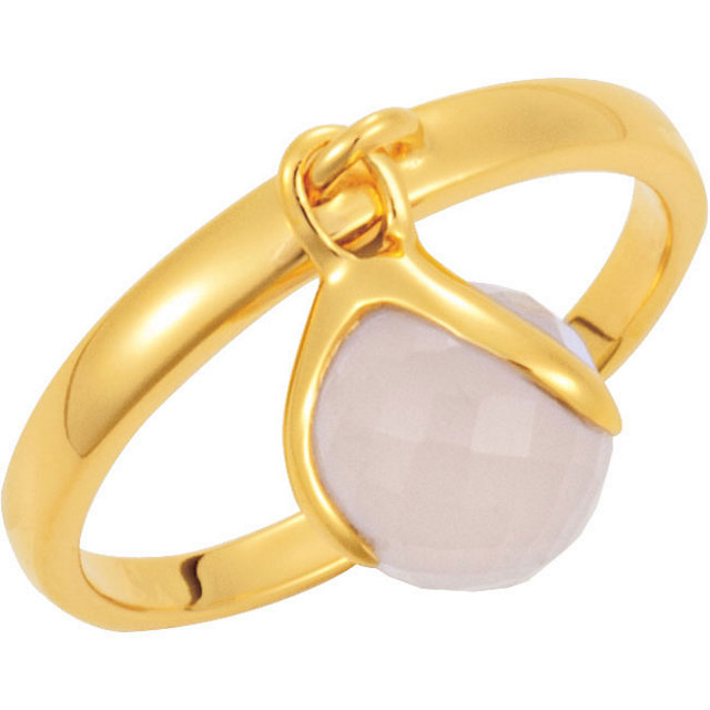 18K Yellow Vermeil Rose Chalcedony Ring Size 7