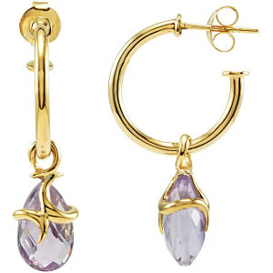 18K Vermeil Amethyst Hoop Earrings