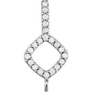 Pendant, 14K White 1/10 CTW Diamond Cushion Halo-Style Bail