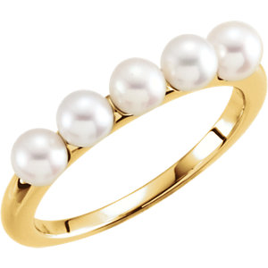 Fashion Rings , 14K Yellow 4-4.5mm Five-Stone Pearl Ring