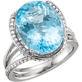 Swiss Blue Topaz & Diamond Accented Spiral Ring or Mounting