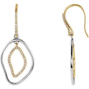 Earrings , 14K Yellow 3/8 CTW Diamond Dangle Earrings