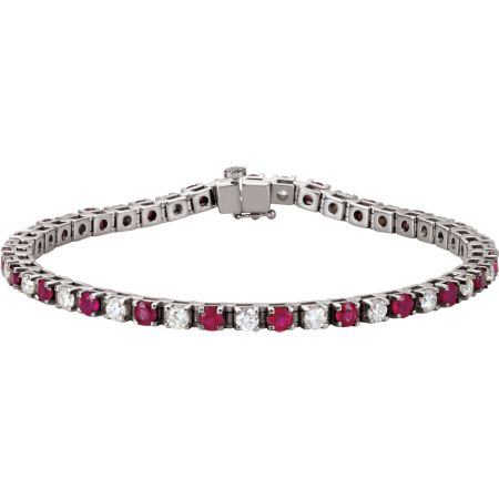 14K White Ruby & 2 1/3 CTW Diamond 7.25