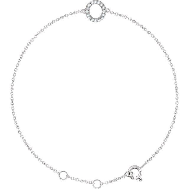 14K White .06 CTW Diamond Initial O 6-7