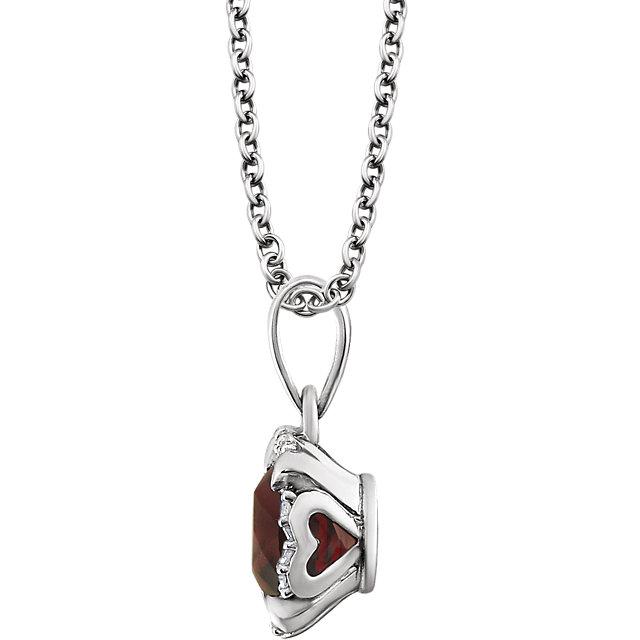 14K White Mozambique Garnet & .05 CTW Diamond 18