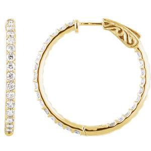 14K Yellow 2 CTW Diamond Inside/Outside Hoop Earrings