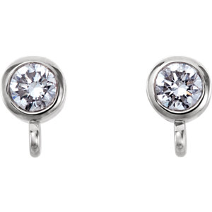 14K White 1/8 CTW Diamond Micro Bezel Earrings