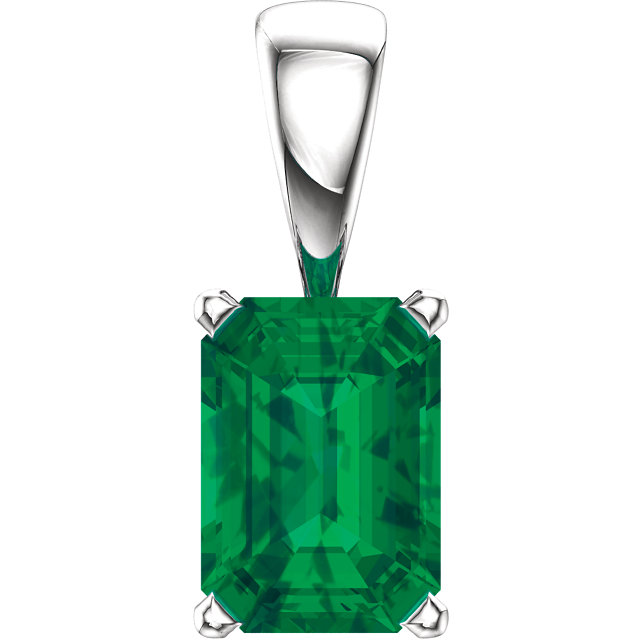 14K White Chatham® Created Emerald Pendant