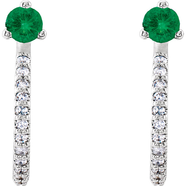 14K White Emerald & 1/6 CTW Diamond J-Hoop Earrings